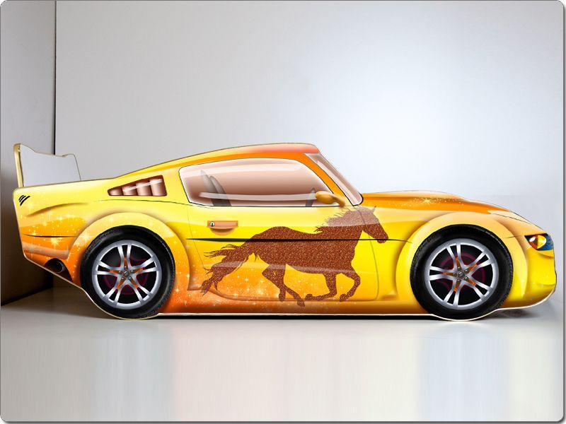 Кровать машина «Мустанг Желтая»